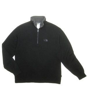 The North Face Mens M Black Wool 1/4 Zip Sweater